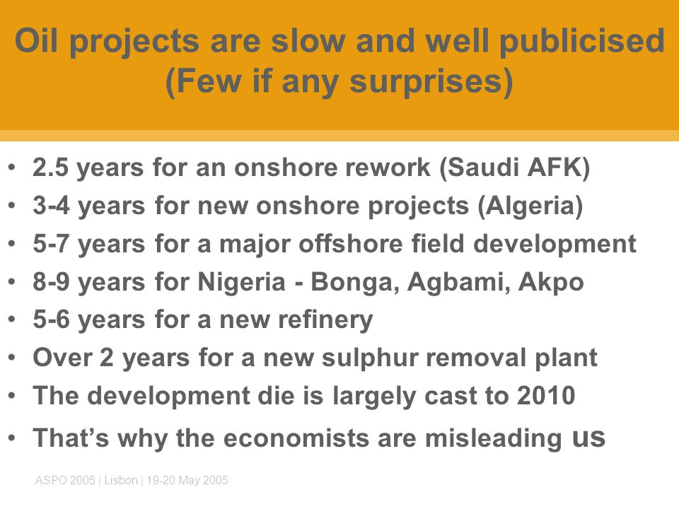 ASPO 2005 | Lisbon | 19-20 May 2005 Oil projects are slow and well publicised (Few if any surprises) 2.5 years for an onshore rework (Saudi AFK) 3-4 years for new onshore projects (Algeria) 5-7 years for a major offshore field development 8-9 years for Nigeria - Bonga, Agbami, Akpo 5-6 years for a new refinery Over 2 years for a new sulphur removal plant The development die is largely cast to 2010 That's why the economists are misleading us