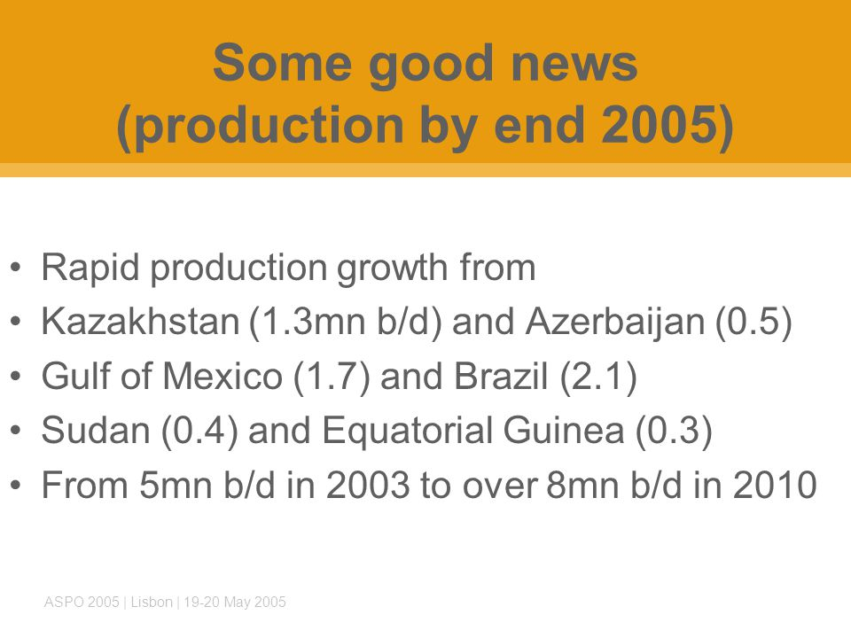 ASPO 2005 | Lisbon | 19-20 May 2005 Some good news (production by end 2005) Rapid production growth from Kazakhstan (1.3mn b/d) and Azerbaijan (0.5) Gulf of Mexico (1.7) and Brazil (2.1) Sudan (0.4) and Equatorial Guinea (0.3) From 5mn b/d in 2003 to over 8mn b/d in 2010