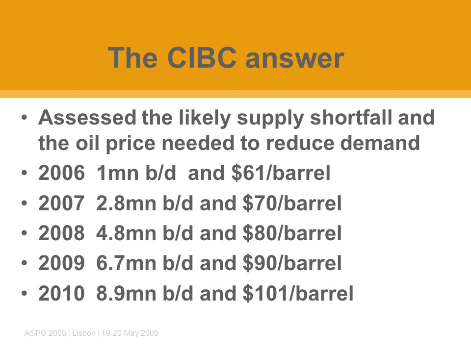 ASPO 2005 | Lisbon | 19-20 May 2005 The CIBC answer Assessed the likely supply shortfall and the oil price needed to reduce demand 2006 1mn b/d and $61/barrel 2007 2.8mn b/d and $70/barrel 2008 4.8mn b/d and $80/barrel 2009 6.7mn b/d and $90/barrel 2010 8.9mn b/d and $101/barrel