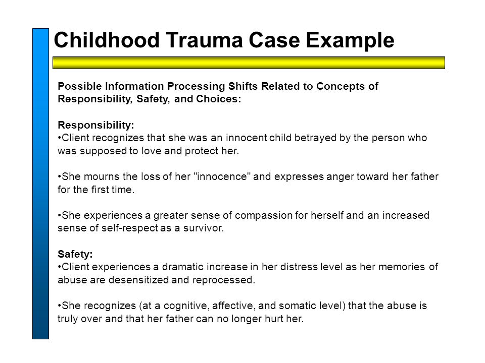 Possible Information Processing Shifts Related to Concepts of Responsibility, Safety, and Choices: Responsibility: Client recognizes that she was an innocent child betrayed by the person who was supposed to love and protect her.