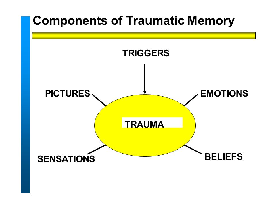 TRIGGERS Components of Traumatic Memory EMOTIONS BELIEFS SENSATIONS PICTURES TRAUMA