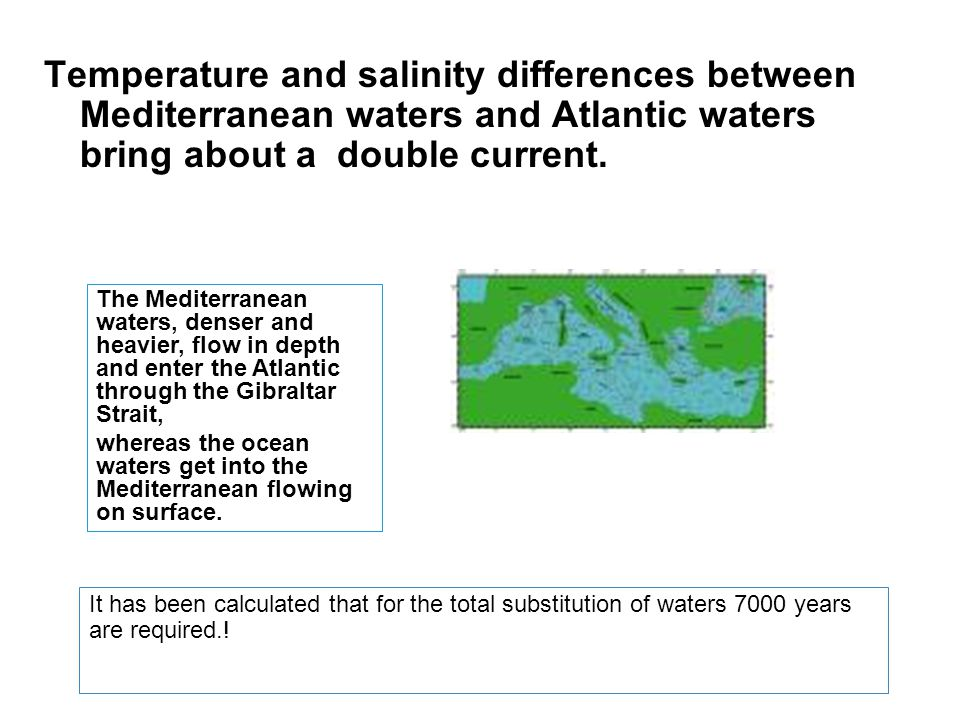 Temperature and salinity differences between Mediterranean waters and Atlantic waters bring about a double current.