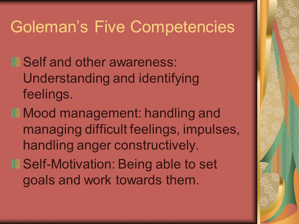 Goleman's Five Competencies Self and other awareness: Understanding and identifying feelings.