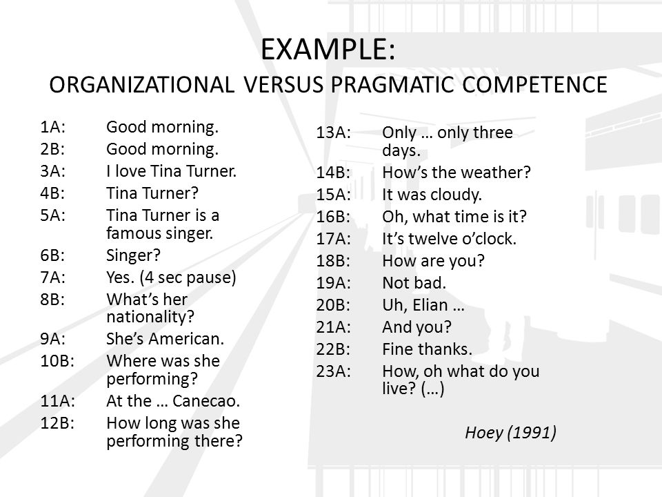 EXAMPLE: ORGANIZATIONAL VERSUS PRAGMATIC COMPETENCE 1A:Good morning.
