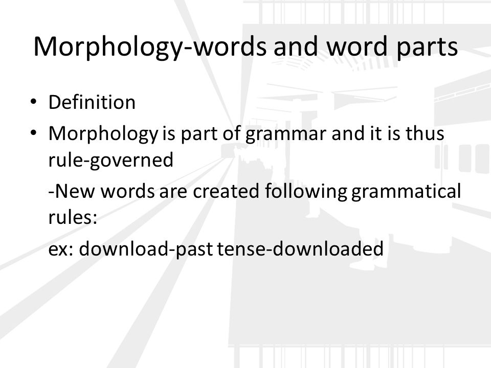 Morphology-words and word parts Definition Morphology is part of grammar and it is thus rule-governed -New words are created following grammatical rules: ex: download-past tense-downloaded