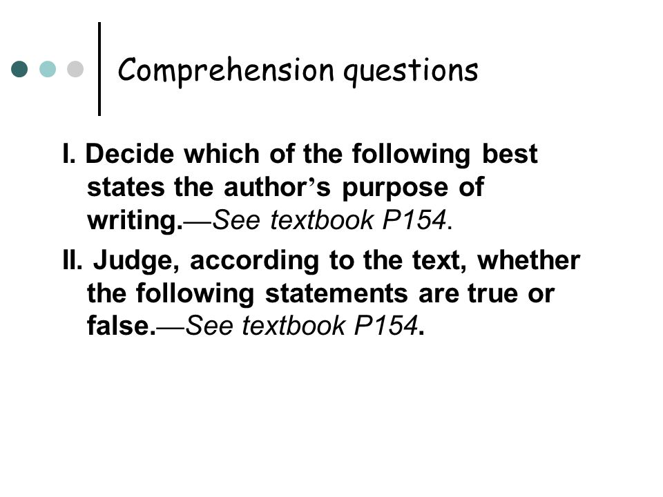 Comprehension questions I.