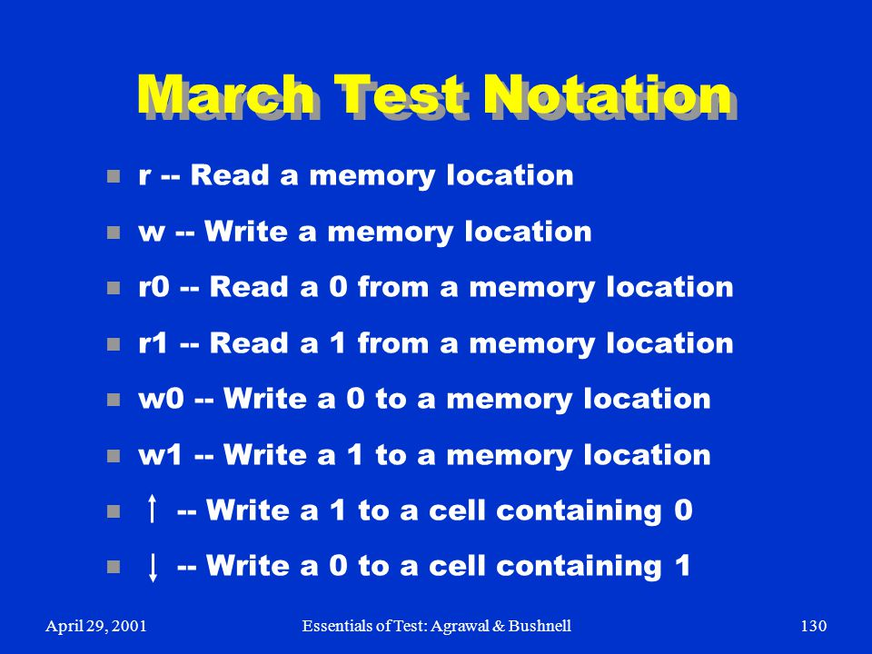 April 29, 2001Essentials of Test: Agrawal & Bushnell130 March Test Notation n r -- Read a memory location n w -- Write a memory location n r0 -- Read