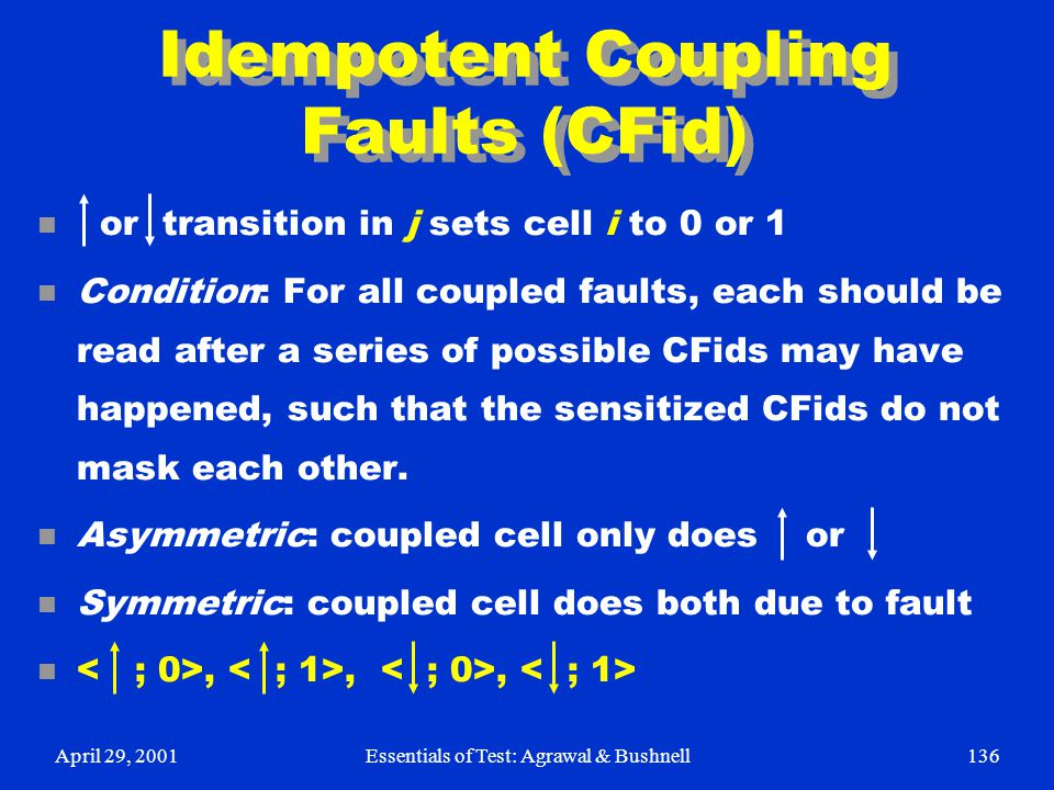 April 29, 2001Essentials of Test: Agrawal & Bushnell136 Idempotent Coupling Faults (CFid) n or transition in j sets cell i to 0 or 1 n Condition: For