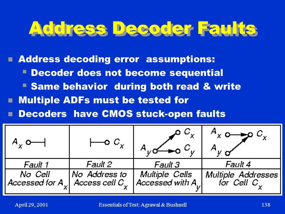 April 29, 2001Essentials of Test: Agrawal & Bushnell138 Address Decoder Faults n Address decoding error assumptions:  Decoder does not become sequent