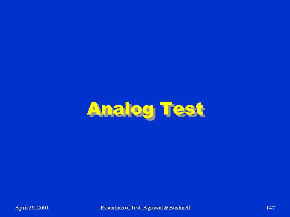 April 29, 2001Essentials of Test: Agrawal & Bushnell147 Analog Test