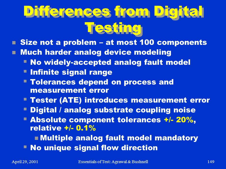 April 29, 2001Essentials of Test: Agrawal & Bushnell149 Differences from Digital Testing n Size not a problem – at most 100 components n Much harder a
