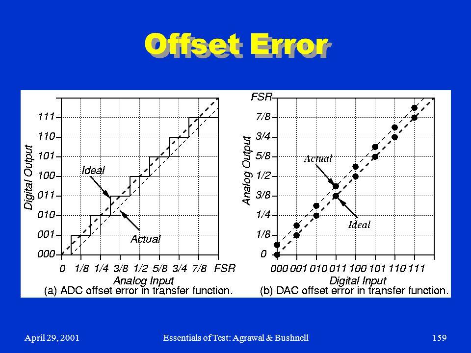 April 29, 2001Essentials of Test: Agrawal & Bushnell159 Offset Error