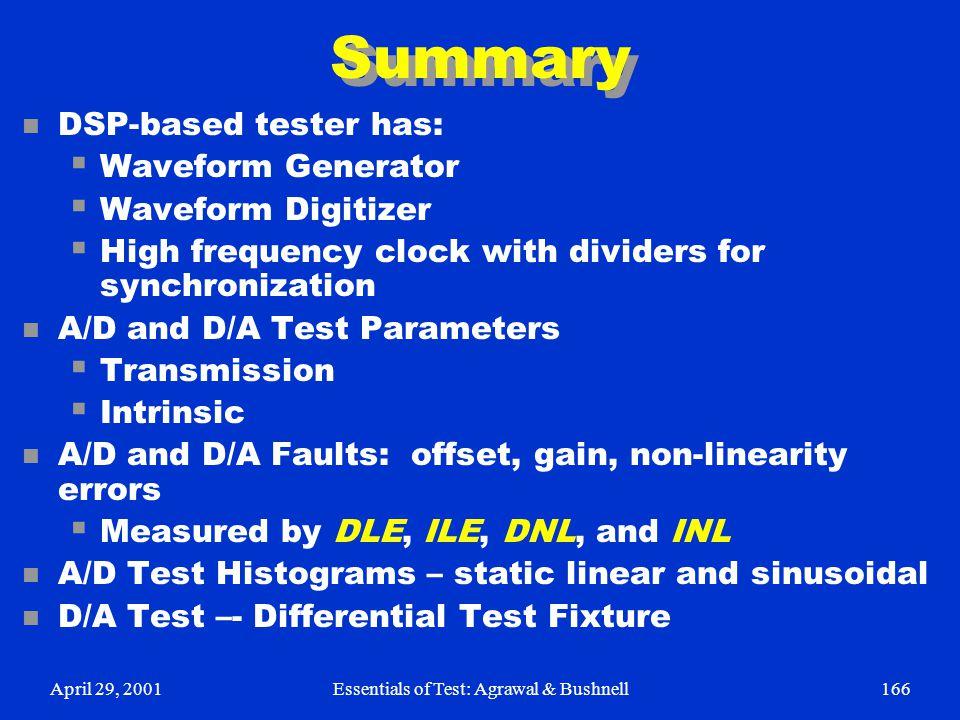 April 29, 2001Essentials of Test: Agrawal & Bushnell166 Summary n DSP-based tester has:  Waveform Generator  Waveform Digitizer  High frequency clo