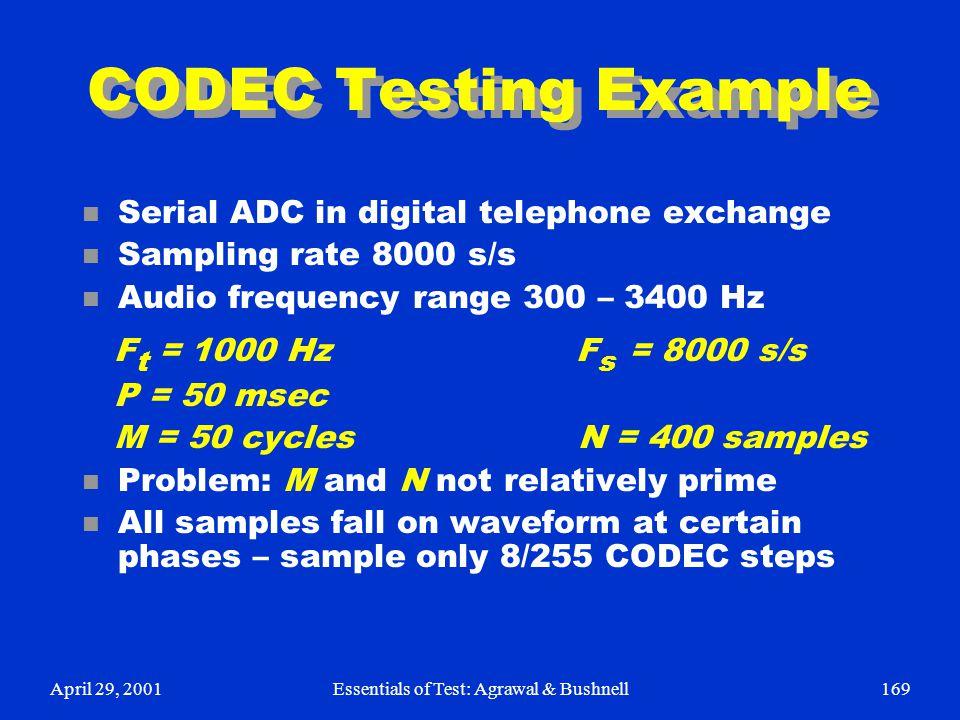 April 29, 2001Essentials of Test: Agrawal & Bushnell169 CODEC Testing Example n Serial ADC in digital telephone exchange n Sampling rate 8000 s/s n Au