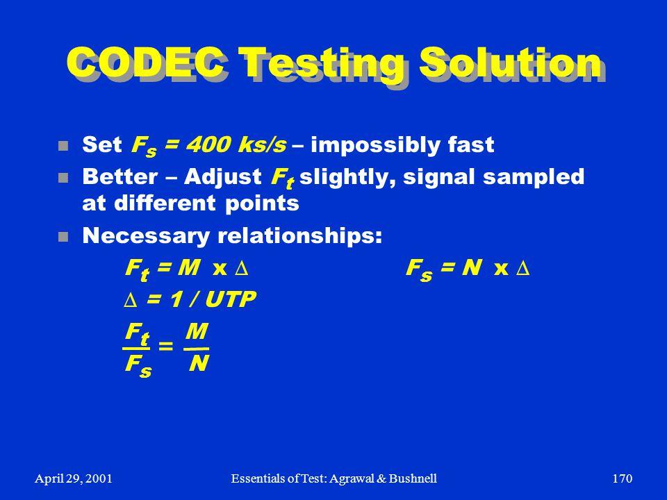 April 29, 2001Essentials of Test: Agrawal & Bushnell170 CODEC Testing Solution n Set F s = 400 ks/s – impossibly fast n Better – Adjust F t slightly,