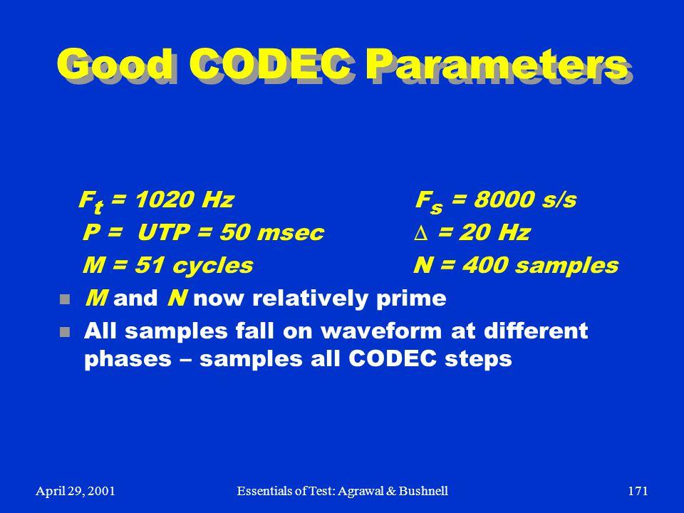 April 29, 2001Essentials of Test: Agrawal & Bushnell171 Good CODEC Parameters F t = 1020 Hz F s = 8000 s/s P = UTP = 50 msec  = 20 Hz M = 51 cycles N