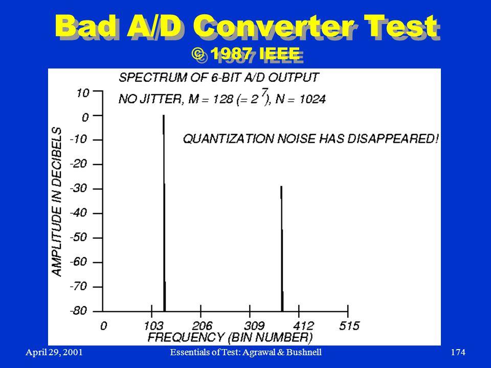 April 29, 2001Essentials of Test: Agrawal & Bushnell174 Bad A/D Converter Test © 1987 IEEE