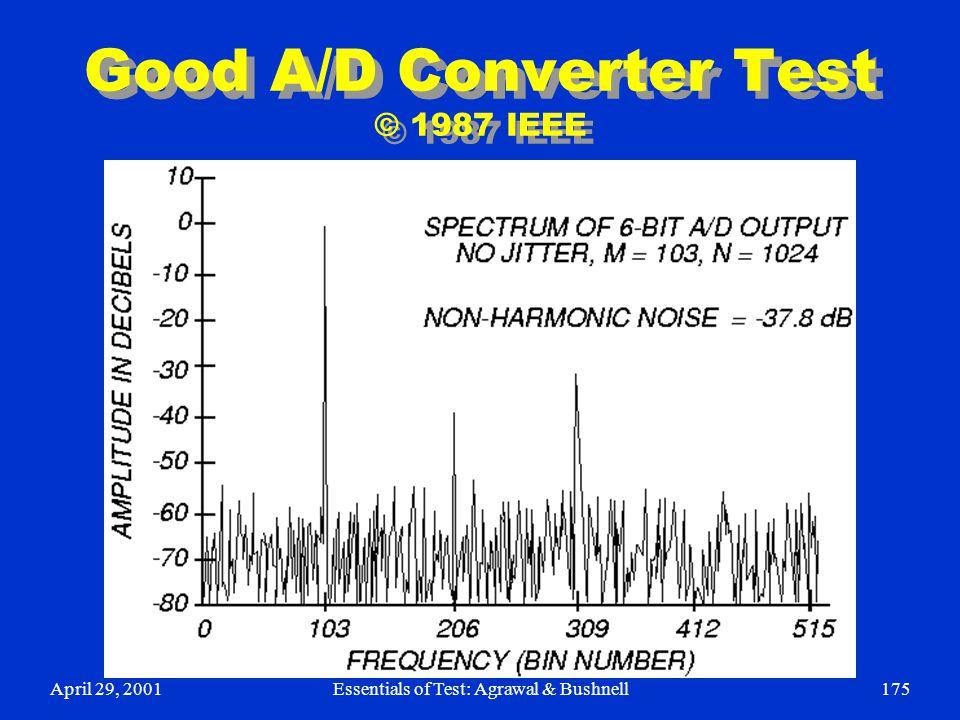 April 29, 2001Essentials of Test: Agrawal & Bushnell175 Good A/D Converter Test © 1987 IEEE