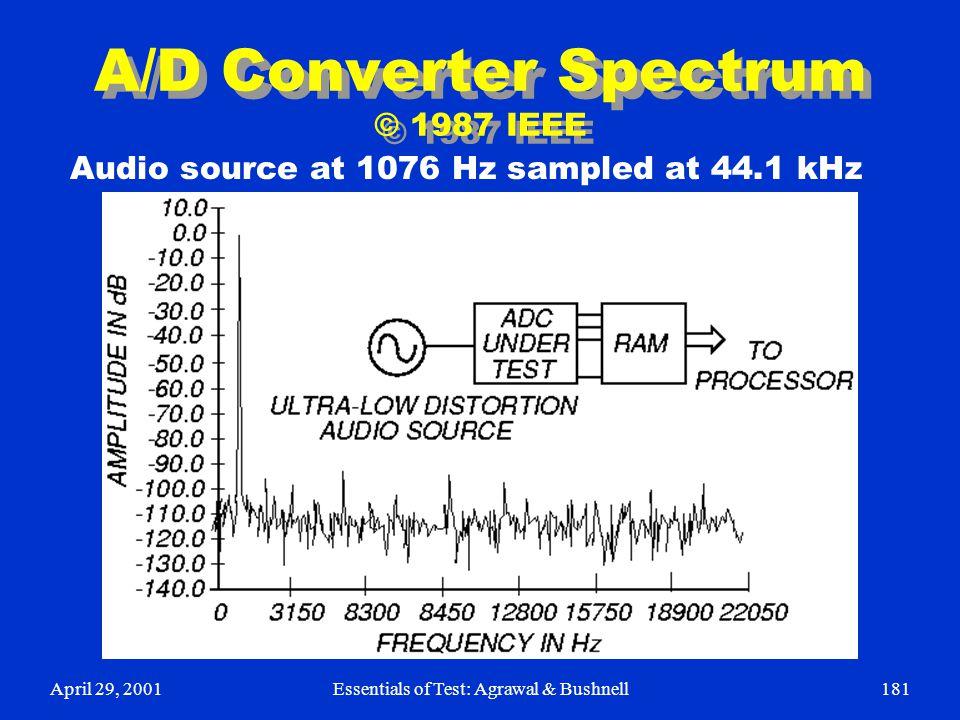 April 29, 2001Essentials of Test: Agrawal & Bushnell181 A/D Converter Spectrum © 1987 IEEE Audio source at 1076 Hz sampled at 44.1 kHz