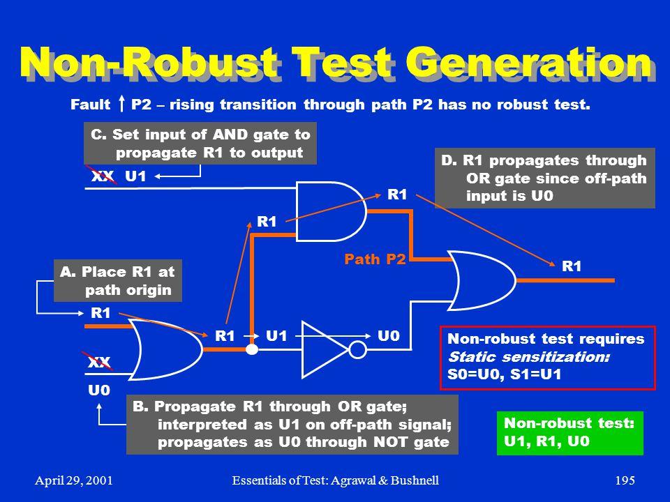 April 29, 2001Essentials of Test: Agrawal & Bushnell195 Non-Robust Test Generation R1 U0 XX U1 U0 R1 Path P2 Fault P2 – rising transition through path