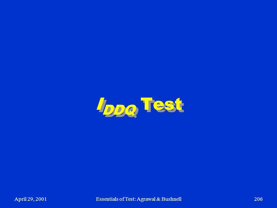 April 29, 2001Essentials of Test: Agrawal & Bushnell206 I DDQ Test