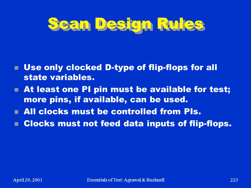 April 29, 2001Essentials of Test: Agrawal & Bushnell223 Scan Design Rules n Use only clocked D-type of flip-flops for all state variables. n At least