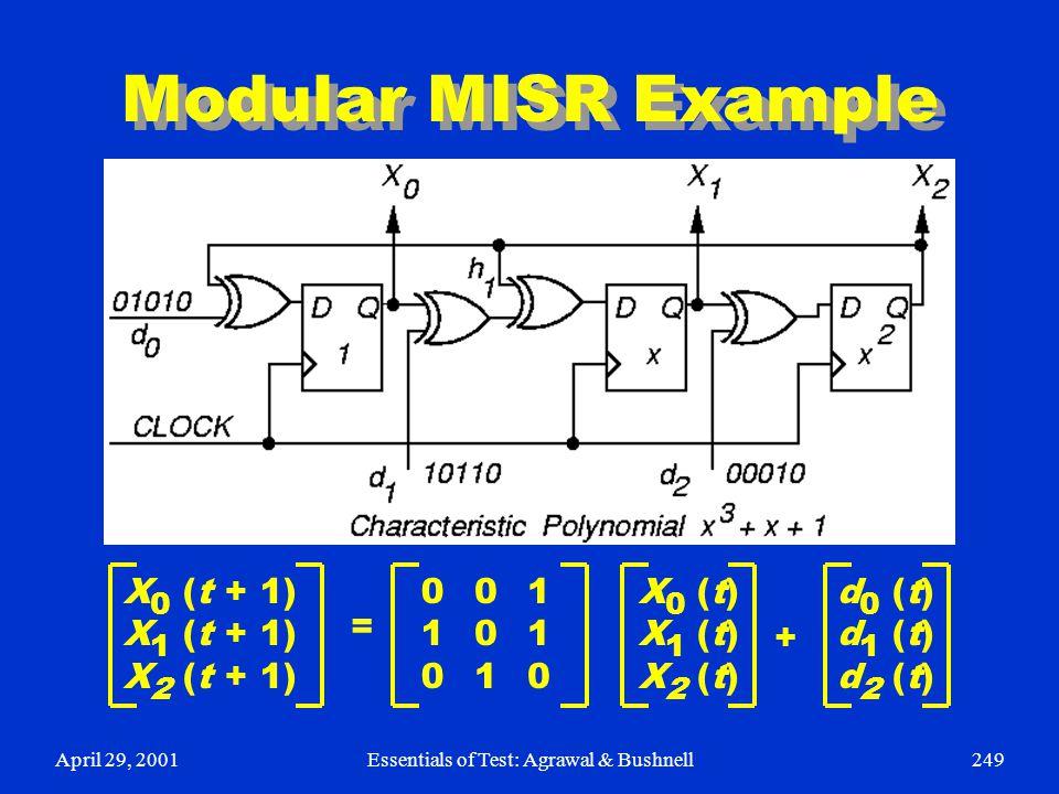 April 29, 2001Essentials of Test: Agrawal & Bushnell249 Modular MISR Example X 0 (t + 1) X 1 (t + 1) X 2 (t + 1) 001001 010010 110110 = X 0 (t) X 1 (t