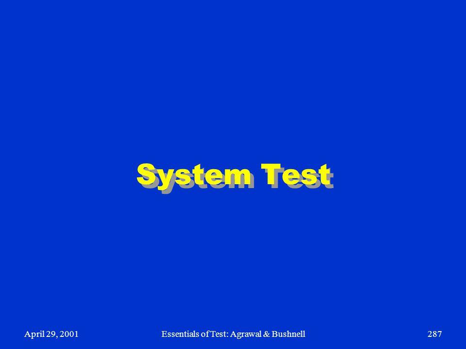 April 29, 2001Essentials of Test: Agrawal & Bushnell287 System Test