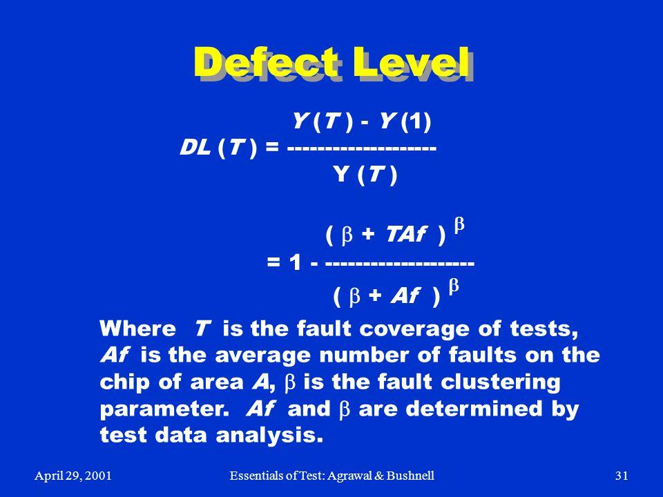 April 29, 2001Essentials of Test: Agrawal & Bushnell31 Defect Level Y (T ) - Y (1) DL (T ) = -------------------- Y (T ) (  + TAf )  = 1 - ---------