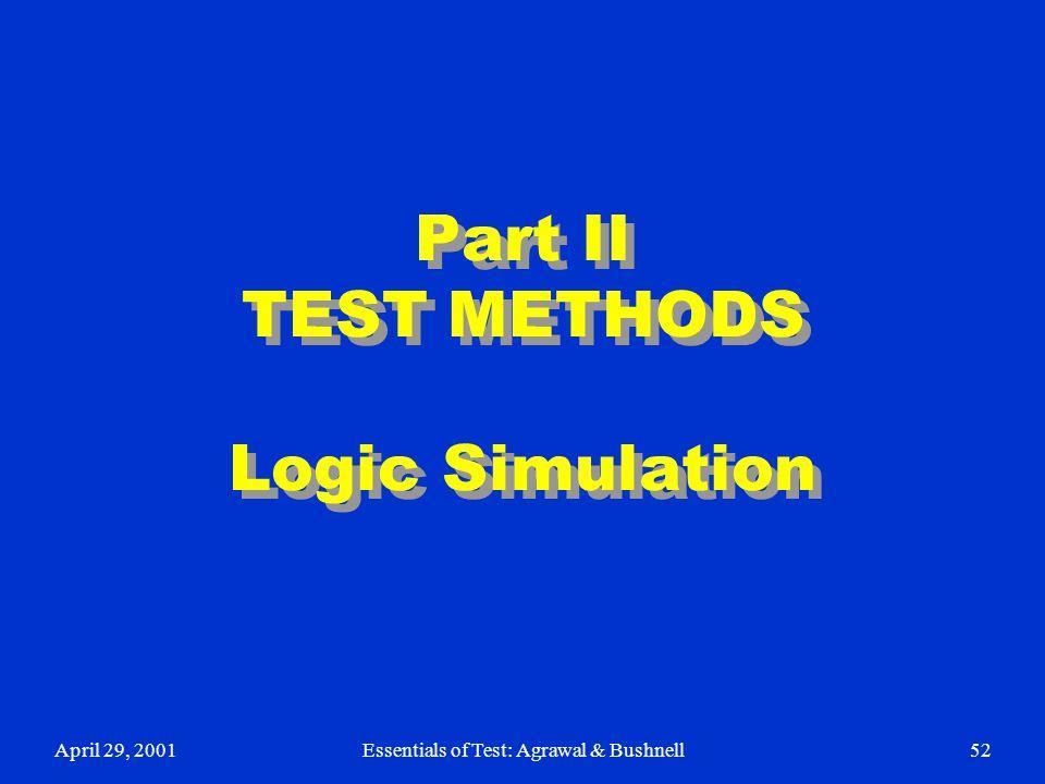 April 29, 2001Essentials of Test: Agrawal & Bushnell52 Part II TEST METHODS Logic Simulation