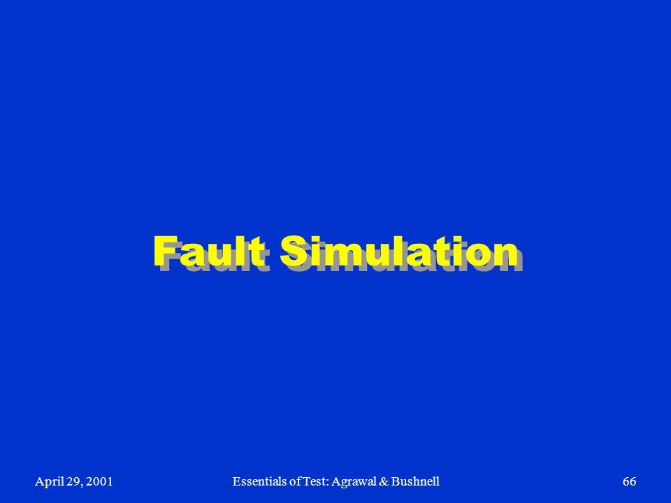 April 29, 2001Essentials of Test: Agrawal & Bushnell66 Fault Simulation