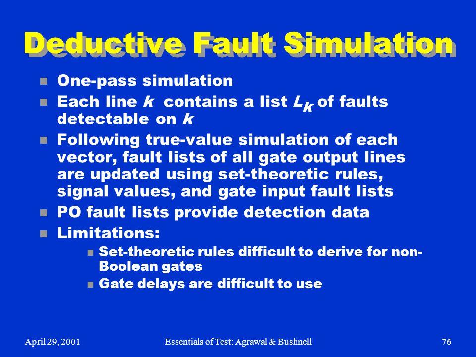April 29, 2001Essentials of Test: Agrawal & Bushnell76 Deductive Fault Simulation n One-pass simulation n Each line k contains a list L k of faults de