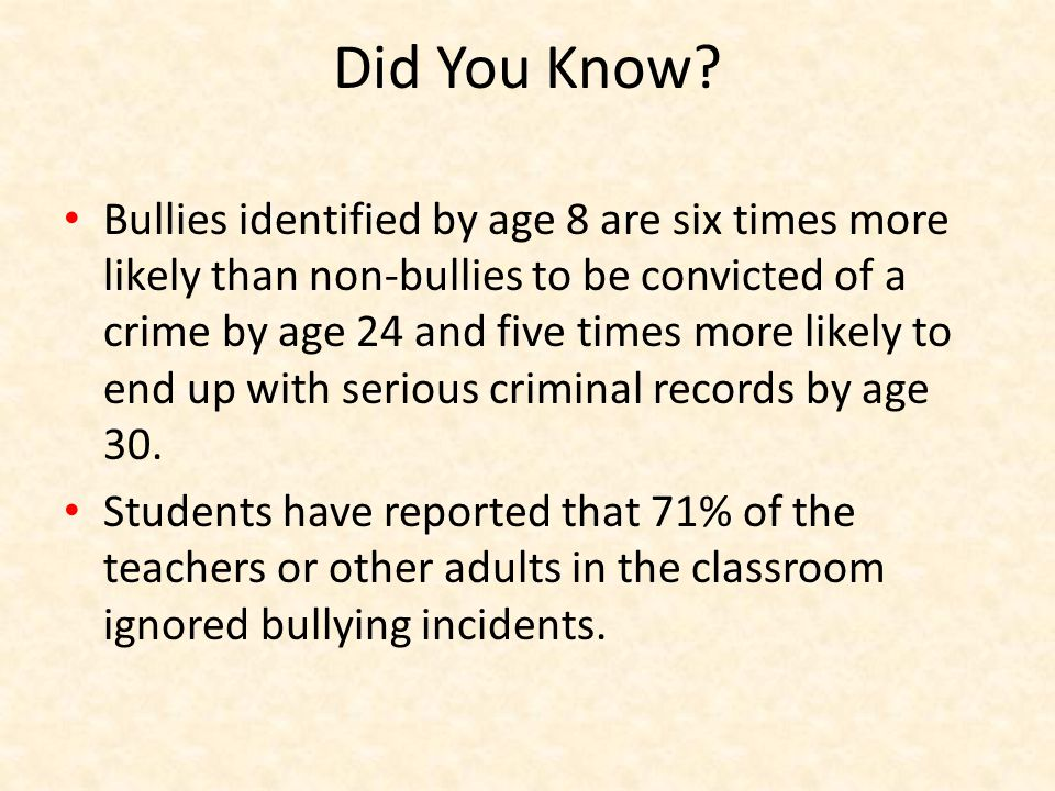 Types of Bullying Physical Social/Emotional – relational aggression Verbal Sexual Electronic – cyberbullying Bullying is learned behavior.