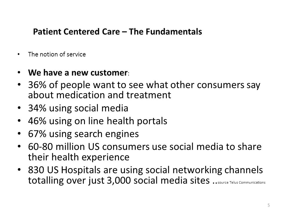 Patient Centered Care – The Fundamentals The notion of service We have a new customer : 36% of people want to see what other consumers say about medication and treatment 34% using social media 46% using on line health portals 67% using search engines 60-80 million US consumers use social media to share their health experience 830 US Hospitals are using social networking channels totalling over just 3,000 social media sites..