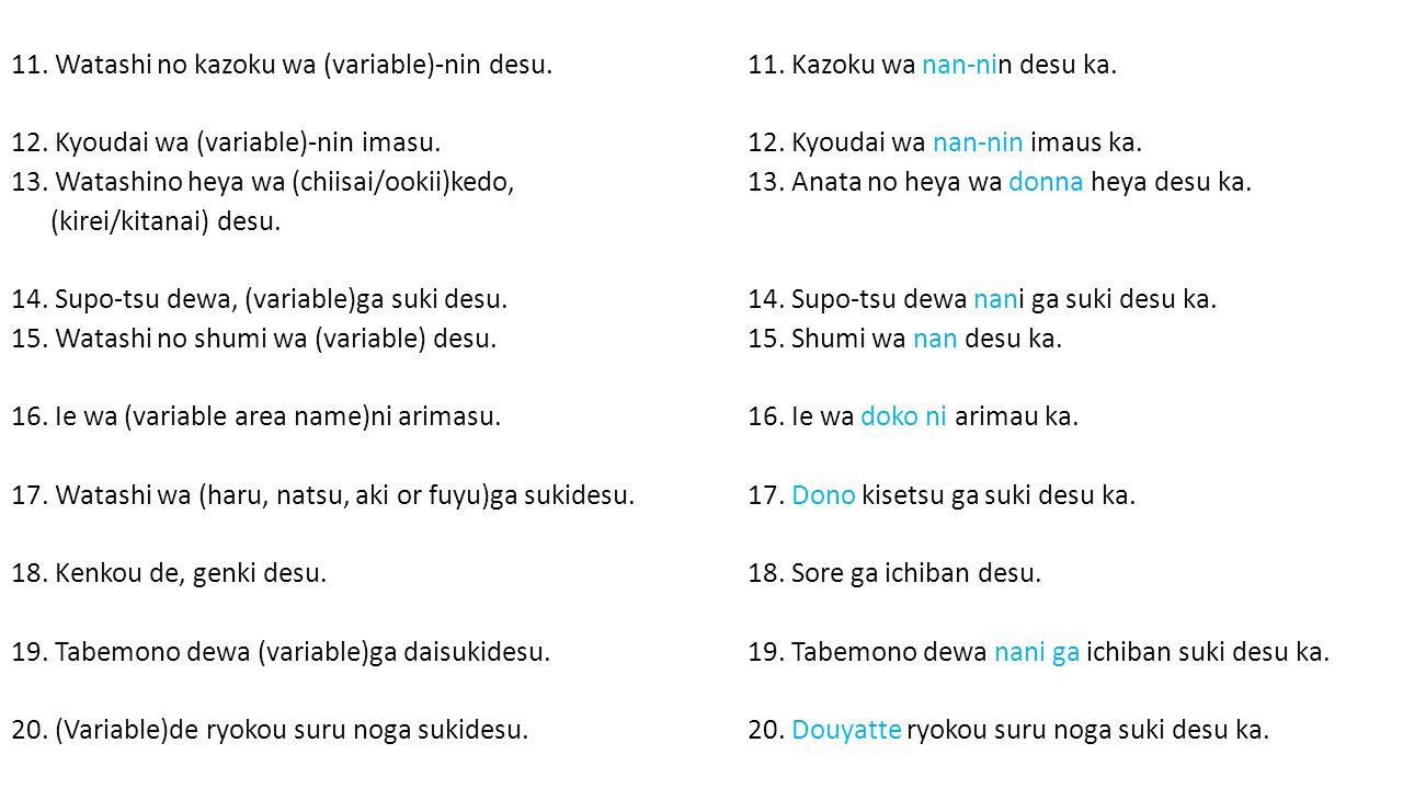 11. Watashi no kazoku wa (variable)-nin desu. 11.