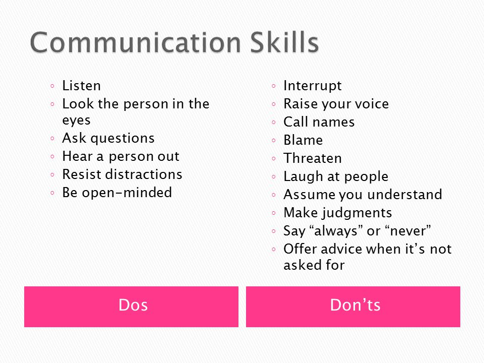 DosDon'ts ◦ Listen ◦ Look the person in the eyes ◦ Ask questions ◦ Hear a person out ◦ Resist distractions ◦ Be open-minded ◦ Interrupt ◦ Raise your v