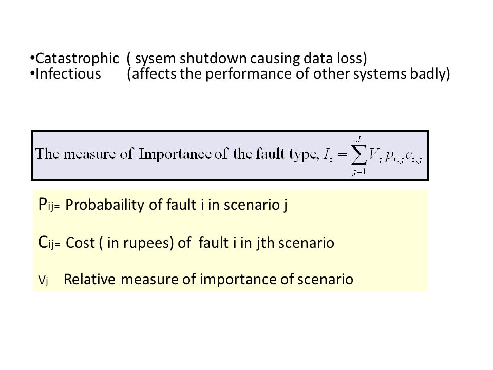P ij= Probabaility of fault i in scenario j C ij= Cost ( in rupees) of fault i in jth scenario V j = Relative measure of importance of scenario Catastrophic ( sysem shutdown causing data loss) Infectious (affects the performance of other systems badly)