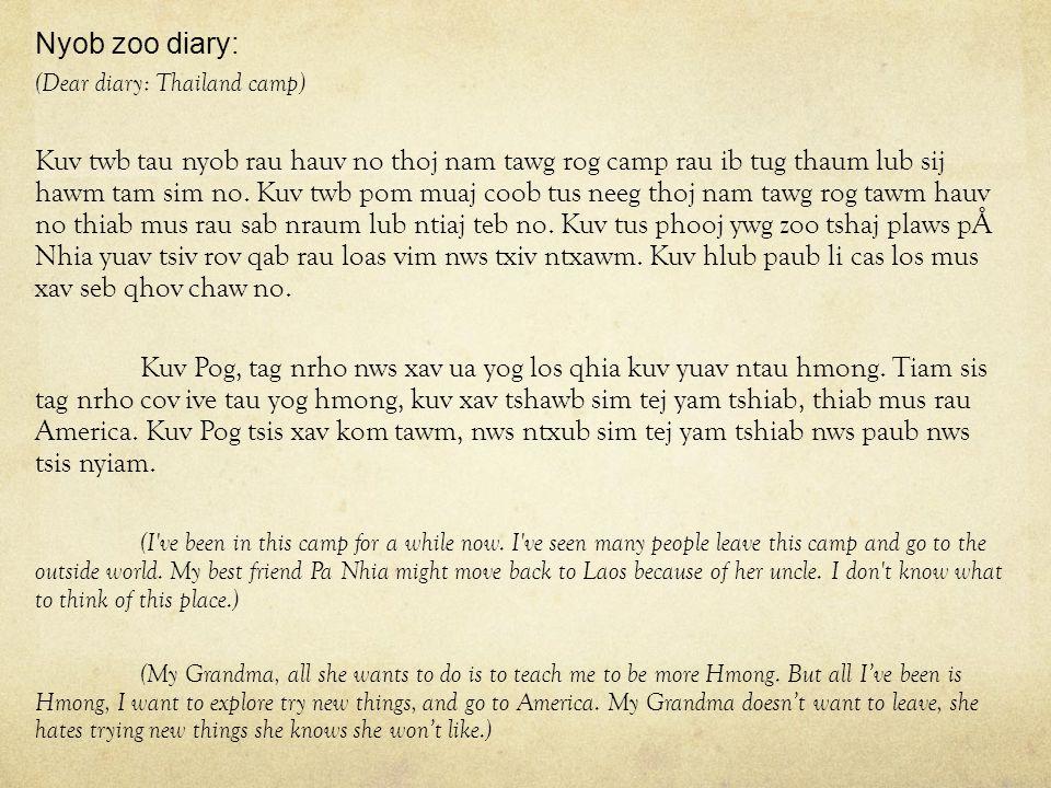 Nyob zoo diary: (Dear diary: Thailand camp) Kuv twb tau nyob rau hauv no thoj nam tawg rog camp rau ib tug thaum lub sij hawm tam sim no.