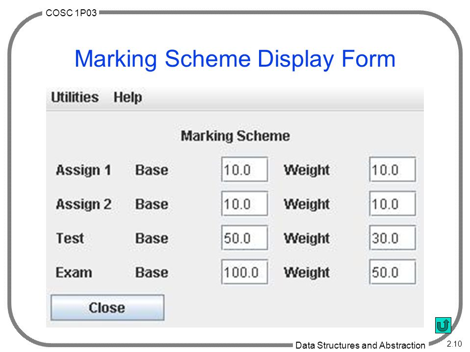COSC 1P03 Data Structures and Abstraction 2.10 Marking Scheme Display Form