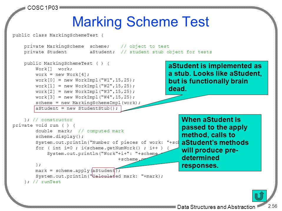 COSC 1P03 Data Structures and Abstraction 2.56 Marking Scheme Test public class MarkingSchemeTest { private MarkingScheme scheme; // object to test private Student aStudent; // student stub object for tests public MarkingSchemeTest ( ) { Work[] work; work = new Work[4]; work[0] = new WorkImpl( W1 ,15,25); work[1] = new WorkImpl( W2 ,15,25); work[2] = new WorkImpl( W3 ,15,25); work[3] = new WorkImpl( W4 ,15,25); scheme = new MarkingSchemeImpl(work); aStudent = new StudentStub(); }; // constructor private void run ( ) { double mark; // computed mark scheme.display(); System.out.println( Number of pieces of work: +scheme.getNumWork()); for ( int i=0 ; i<scheme.getNumWork() ; i++ ) { System.out.println( Work +i+ : +scheme.getName(i)+ , +scheme.getBase(i)+ , +scheme.getWeight(i)); }; mark = scheme.apply(aStudent); System.out.println( Calculated mark: +mark); }; // runTest aStudent is implemented as a stub.