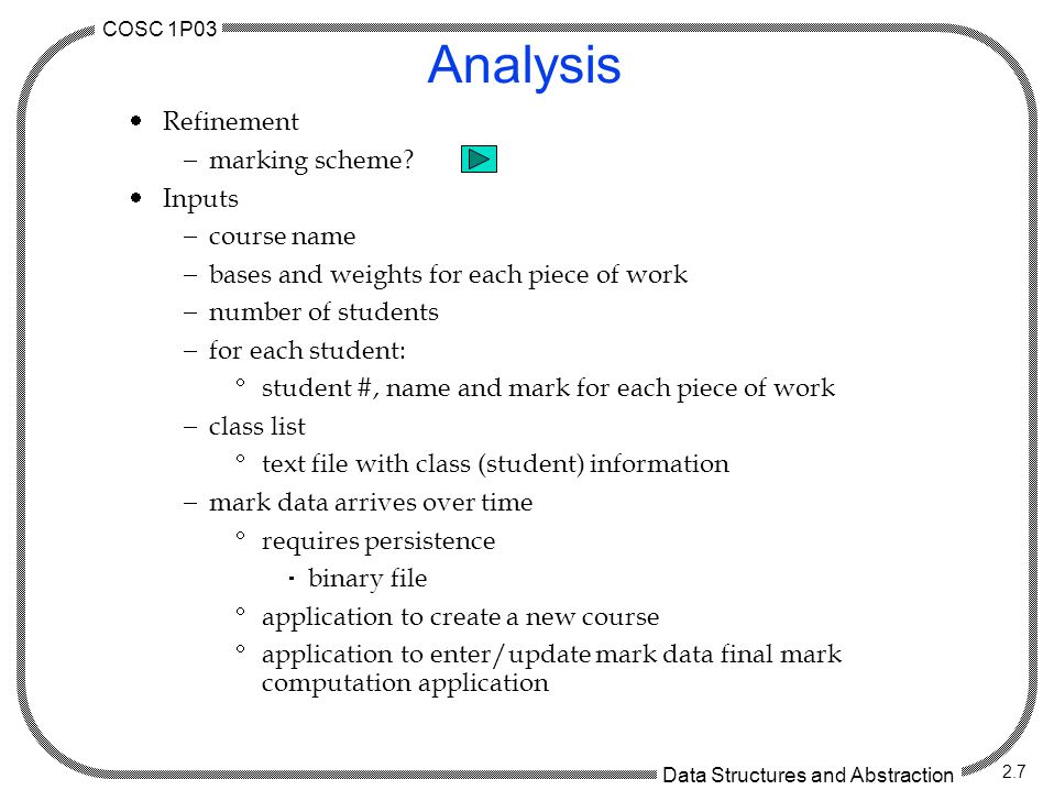 COSC 1P03 Data Structures and Abstraction 2.7 Analysis  Refinement  marking scheme.