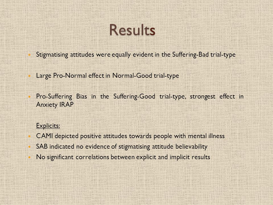 Results Stigmatising attitudes were equally evident in the Suffering-Bad trial-type Large Pro-Normal effect in Normal-Good trial-type Pro-Suffering Bias in the Suffering-Good trial-type, strongest effect in Anxiety IRAP Explicits: CAMI depicted positive attitudes towards people with mental illness SAB indicated no evidence of stigmatising attitude believability No significant correlations between explicit and implicit results