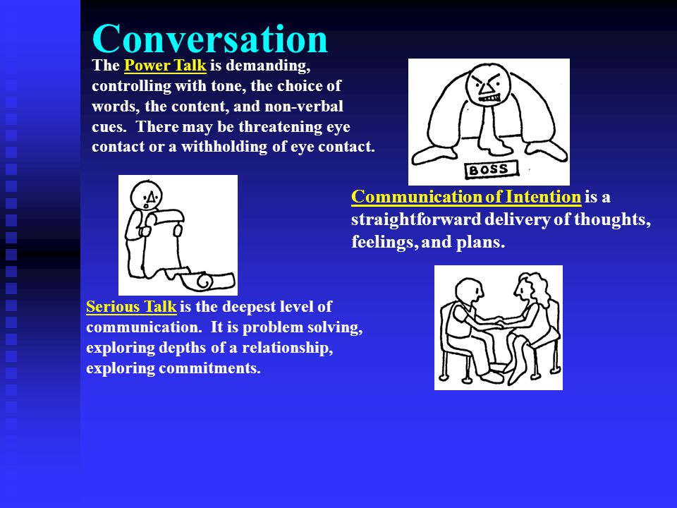 Conversation The Power Talk is demanding, controlling with tone, the choice of words, the content, and non-verbal cues. There may be threatening eye c