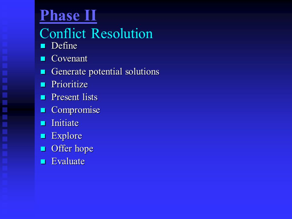 Phase II Conflict Resolution Define Define Covenant Covenant Generate potential solutions Generate potential solutions Prioritize Prioritize Present l