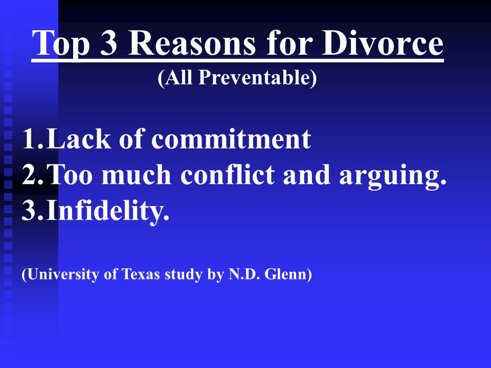 Top 3 Reasons for Divorce (All Preventable) 1.Lack of commitment 2.Too much conflict and arguing. 3.Infidelity. (University of Texas study by N.D. Gle