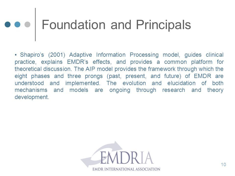 Foundation and Principals Shapiro's (2001) Adaptive Information Processing model, guides clinical practice, explains EMDR's effects, and provides a co