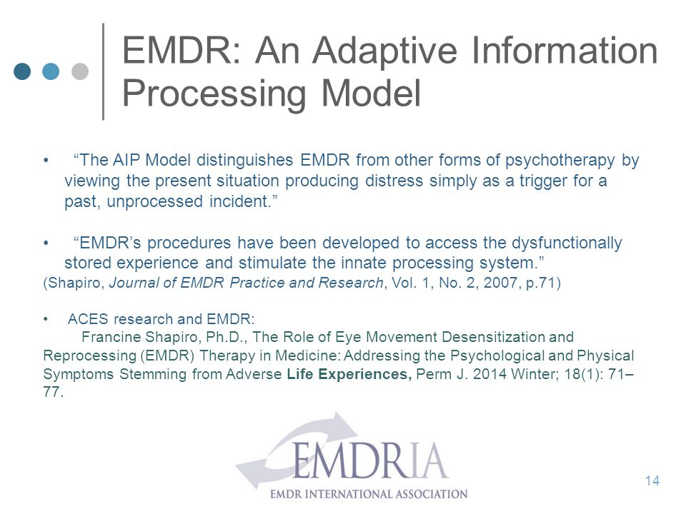 """EMDR: An Adaptive Information Processing Model """"The AIP Model distinguishes EMDR from other forms of psychotherapy by viewing the present situation pr"""