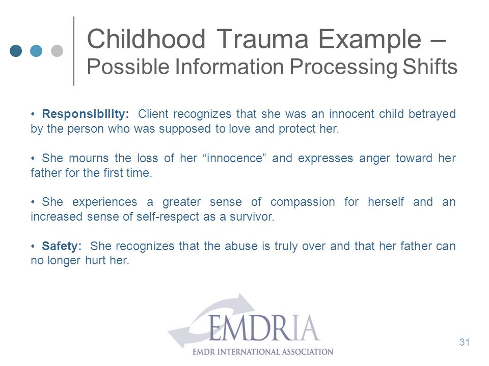 Childhood Trauma Example – Possible Information Processing Shifts Responsibility: Client recognizes that she was an innocent child betrayed by the per