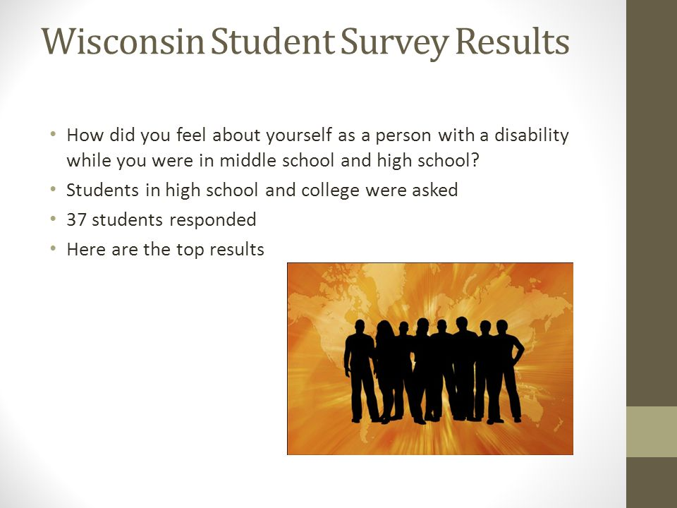 Survey Results *I'm stupid *I'm not normal *My teachers don't understand me*I will never go to college *Life is not fair, it's hard*I wish I was smart *I will never amount to anything*There is no point *I read too slow to be smart*I am a loser *Everyone thinks I'm dumb, why try*I am a disappointment *I'm not as important as my peers*I am not meant for school *Life sucks, why me*Just let me be *I can't do anything right, I'm stupid *I won't have friends because of my disability *I'll never be popular and no one will ever like me *Everyone is looking at me because of my disability