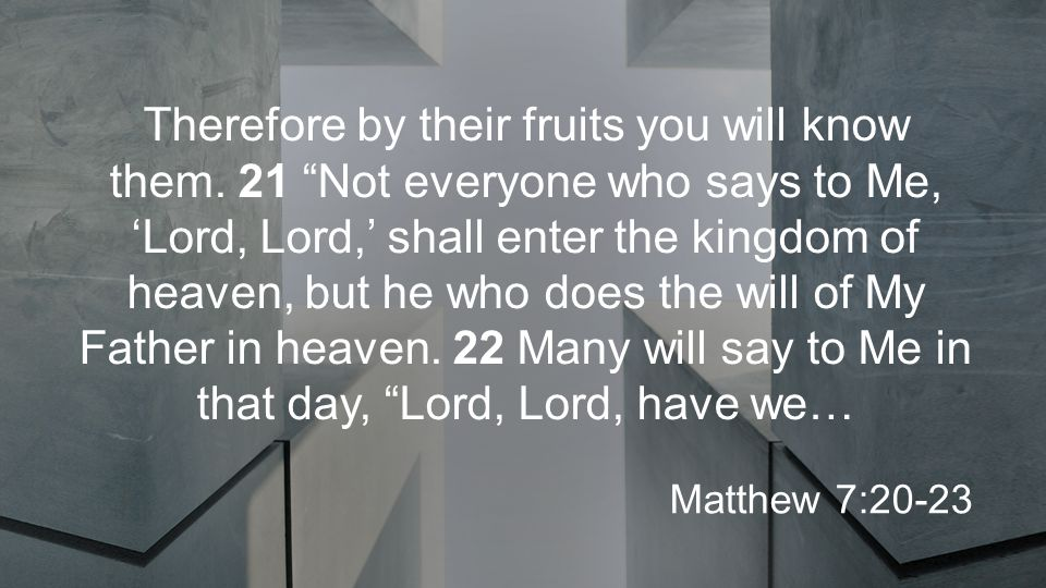 Therefore by their fruits you will know them.